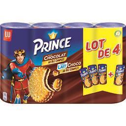 LU Prince - Biscuits au blé complet fourrés goût lait choco le lot de 3 paquets 1kg200