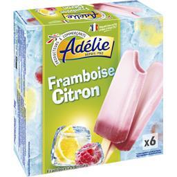 Adélie Sorbet framboise citron les 6 bâtonnets de 60 ml