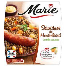 Saucisse de Montbéliard lentilles cuisinées