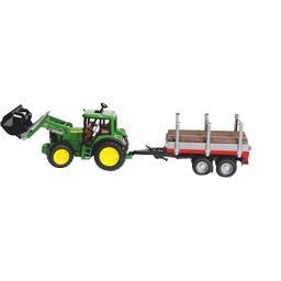 Tracteur John Deere avec fourche et remorque porte t...