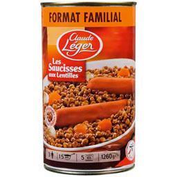 Les saucisses aux lentilles, format familial