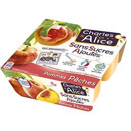 Charles & Alice Purée pommes pêches sans sucre ajouté