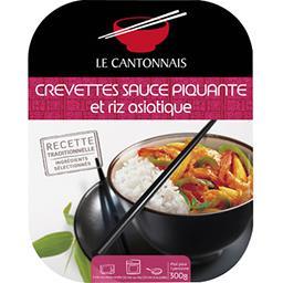 Crevettes sauce piquante et riz asiatique