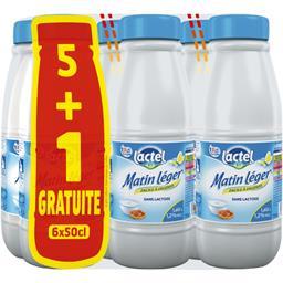 Lactel Lait Matin Léger 1,2% MG U.H.T. facile à digérer les 5 bouteilles de 50 cl