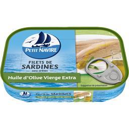 Filets de sardines sans arêtes, huile d'olive vierge...