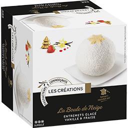 La Boule de Neige entremets glacé vanille & fraise