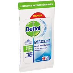 Lingette antibactérienne, pureté multi-surfaces, la paquet de 20,DETTOL,la paquet de 20