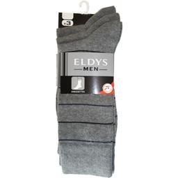 Eldys Mi-chaussettes homme rayures gris chiné / bleu t39/42 le lot de 3