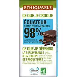 Chocolat noir 98% Equateur BIO