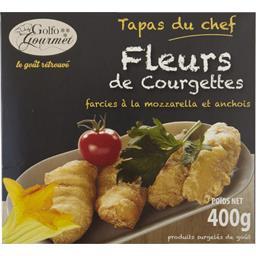 Fleurs de courgettes farcies à la mozzarella et anchois