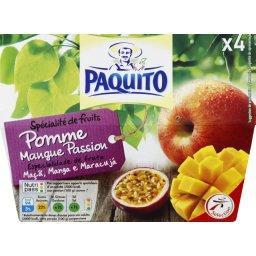 Spécialité de fruits pomme/mange/passion,PAQUITO,les 4 pots de 100g
