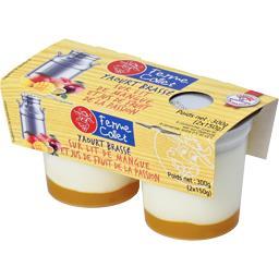 Yaourt brassé sur lit de mangue et jus de la passion