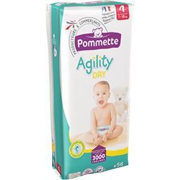 Couches Agility Dry, taille 4 : 7-18 kg,POMMETTE,le paquet de 56