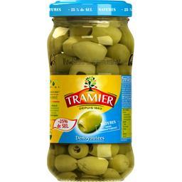 Olives vertes dénoyautées, -25% de sel
