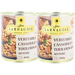 Jean Larnaudie Véritable cassoulet toulousain au porc le lot de 2 boites de 840 g