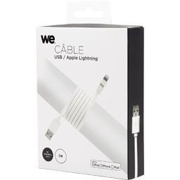 Câble USB/Lightning plat 1 m, blanc