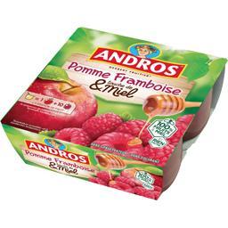 Andros Dessert pomme framboise touche de miel les 4 pots de 100 g