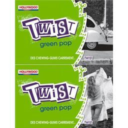 Chewing-gum twist sans sucres green pop,HOLLYWOOD,Les étuis