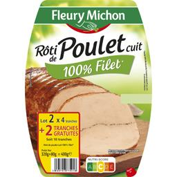 Fleury Michon Rôti de poulet cuit 100% filet lot de 2x(4 tranches ) - 400 g