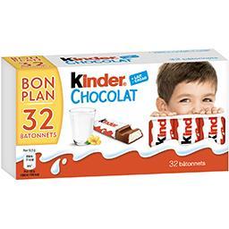 Kinder Chocolat - Barre chocolatée le paquet de 32 bâtonnets - 400 g