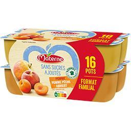 Materne Sans Sucres Ajoutés - Assortiment spécialité pomme/p... les 16 pots de 100 g - Format familial