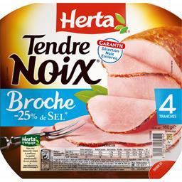 Tendre noix à la broche jambon sans couenne -25% de sel,HERTA,x4 160g