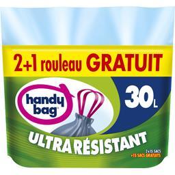 Sacs poubelle poignées résistantes Ultra Résistant 30 l