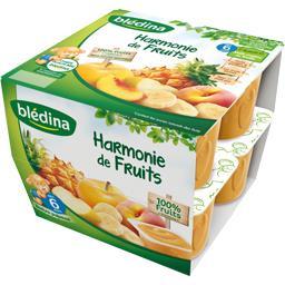 Coupelles fruits - Harmonie de fruits - dès 6M ,BLEDINA,les 8 pots de 100g