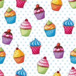 Serviettes 3 plis 33x33 cm Cupcakes