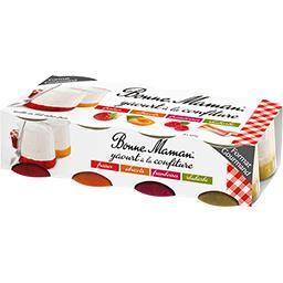 Yaourt à la confiture fraises/abricots/framboises/rhubarbe