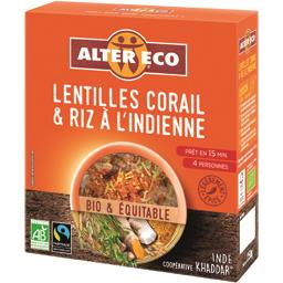 Lentilles corail & riz à l'indienne BIO