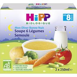 Mon Dîner Bonne Nuit - Soupe 6 légumes semoule BIO, ...