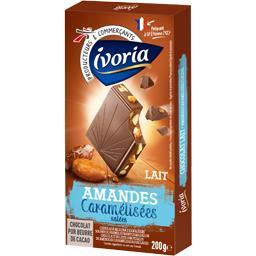 Chocolat lait amandes caramélisées pointe de sel