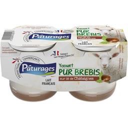 Yaourt au lait de brebis sucré sur lit de châtaignes ,PATURAGES,le lot de 2x125 Gr