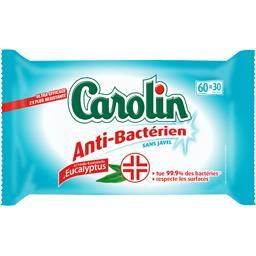 Lingettes multi-usages anti-bactériens sans javel, le paquet de 30 lingettes,CAROLIN,le paquet de 30 lingettes