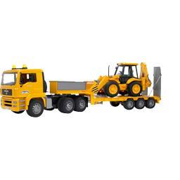 Camion de transport Man avec tractopelle JCB 4CX
