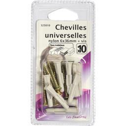 Chevilles universelles nylon 6x35mm + vis