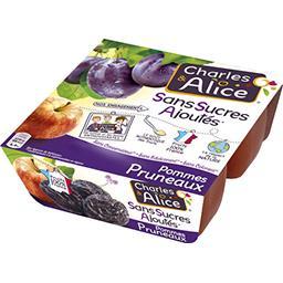 Charles & Alice Purée de pommes-pruneaux s/sucres ajoutés