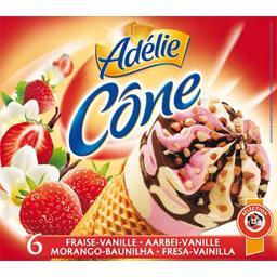Cônes fraise vanille
