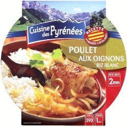 Poulet aux oignons et au riz blanc