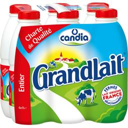 Lait entier Pleine Saveur - Grandlait,CANDIA,les 6 bouteilles de 1 l