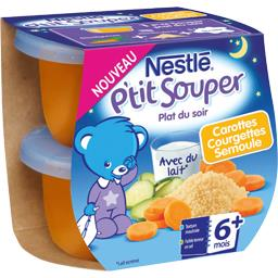 P'tit Souper - Plat du soir carottes courgettes semoule, 6+ mois