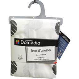 Taie d'oreiller 63X63 cm fond blanc pois noir