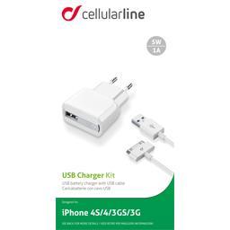 Chargeur secteur USB 1A blanc + câble + charge Apple 30 pins