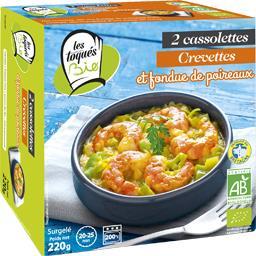 Cassolettes crevettes et fondue de poireaux BIO