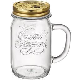 Drinking jar avec anse et couvercle