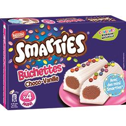 Smarties Bûchettes vanille chocolat décor bonbons la boite de 4 bûchettes - 228 g