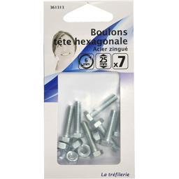 Boulons tête hexagonale acier zingué 6mm 25mm