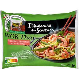 Wok Thaï nouilles légumes et crevettes, saveur de Th...