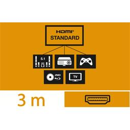 Câble HDMI standard mâle/mâle, 3 m